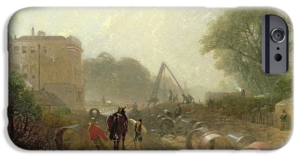 Construction Site iPhone Cases - Laying Monster Tubes From The New River, 1855 Oil On Canvas iPhone Case by James Baker Pyne