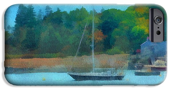 Sailboat Ocean iPhone Cases - Lazy Afternoon iPhone Case by Helene Guertin