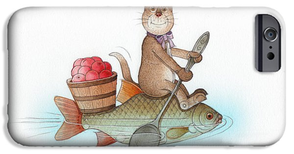 Cat Drawings iPhone Cases - Lazy Cats05 iPhone Case by Kestutis Kasparavicius