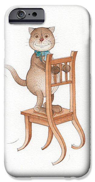 Cat Drawings iPhone Cases - Lazy Cats08 iPhone Case by Kestutis Kasparavicius