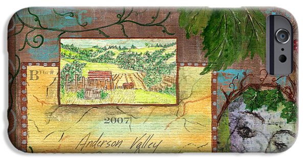 Table Wine Mixed Media iPhone Cases - Lazy Creek Vineyards iPhone Case by Tamyra Crossley