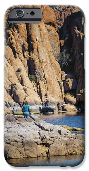 Watson Lake iPhone Cases - Lazy Day at Watson Lake iPhone Case by Diane Wood