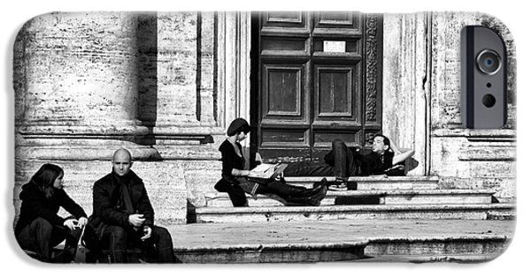 Monotone iPhone Cases - Lazy Day in Roma iPhone Case by John Rizzuto