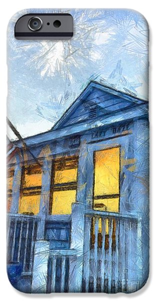 Lazy Daze Beach Cottage Pencil Sketch iPhone Case by Edward Fielding