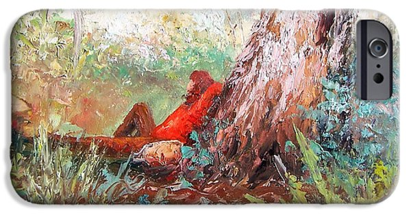 Landscape With Figure iPhone Cases - Lazy summers day by Jan Matson iPhone Case by Jan Matson