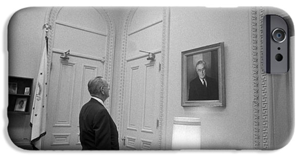 White House iPhone Cases - LBJ Looking At FDR iPhone Case by War Is Hell Store