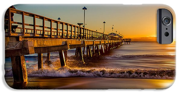 Dave Pyrography iPhone Cases - LBTS Pier Sunrise iPhone Case by David Thurau