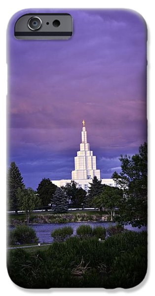 Angel Moroni iPhone Cases - LDS Temple Of Idaho Falls iPhone Case by Image Takers Photography LLC - Carol Haddon