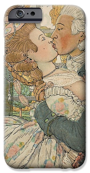 Women Together iPhone Cases - Le Baiser iPhone Case by Konstantin Andreevic Somov