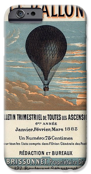 Collect Digital Art iPhone Cases - Le Ballon advertising for French aeronautical journal iPhone Case by Nomad Art And  Design