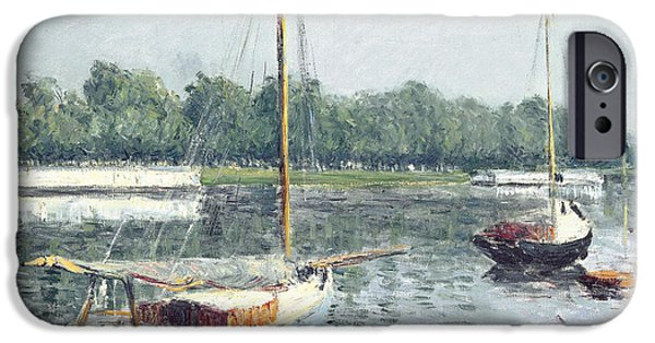Water Vessels Paintings iPhone Cases - Le Bassin dArgenteuil iPhone Case by Gustave Caillebotte