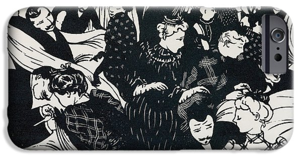 People Drawings iPhone Cases - Le Bon Marche iPhone Case by Felix Edouard Vallotton