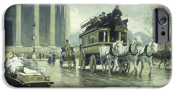Horse And Cart Paintings iPhone Cases - Le Boulevard a la Madeleine iPhone Case by Paul Fischer