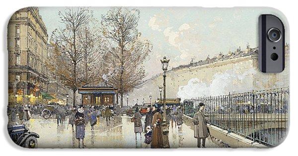 Nineteenth iPhone Cases - Le Boulevard Pereire Paris iPhone Case by Eugene Galien-Laloue