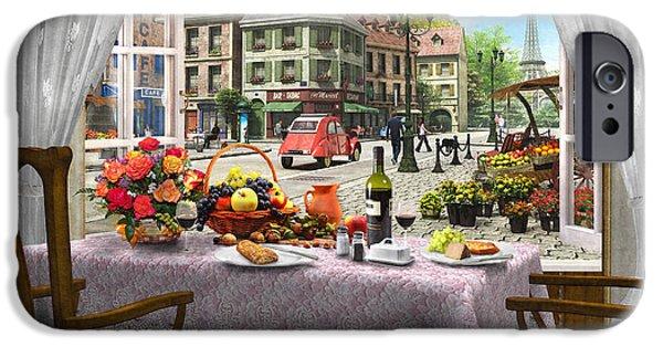 Traditional Digital Art iPhone Cases - Le Cafe Paris iPhone Case by Dominic Davison