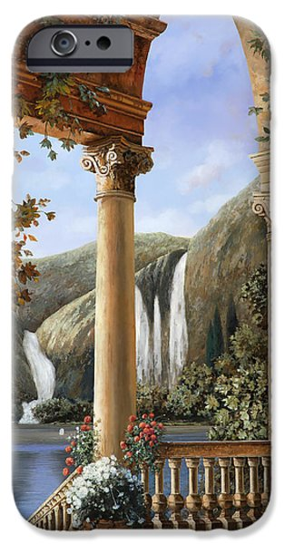 Steps Paintings iPhone Cases - Le Cascate iPhone Case by Guido Borelli