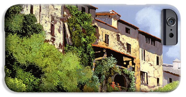 Village Paintings iPhone Cases - Le Case Sulla Rupe iPhone Case by Guido Borelli
