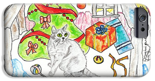 Christmas Greeting iPhone Cases - Le chat gris de RoxAnn / PeeWee / RoxAnns Grey Cat iPhone Case by Dominique Fortier