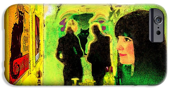 Staley Mixed Media iPhone Cases - Le Chat Noir iPhone Case by Chuck Staley