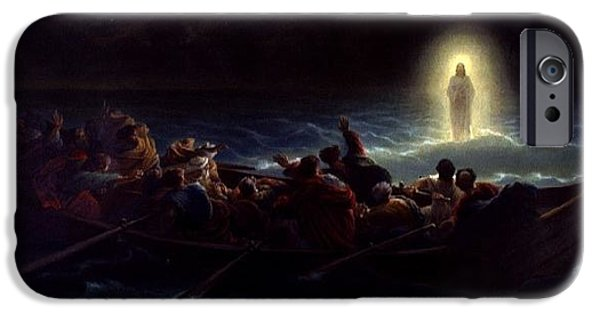 Christ Walking On Water iPhone Cases - Le Christ marchant sur la mer iPhone Case by Amedee Varint