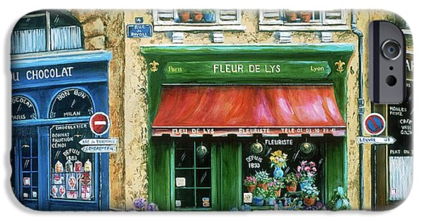 Window Paintings iPhone Cases - Le Fleuriste iPhone Case by Marilyn Dunlap