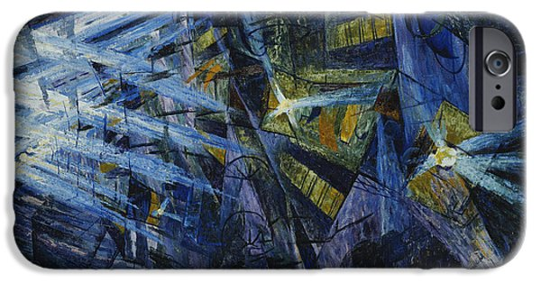 Law Enforcement iPhone Cases - Le Forze di una Strada iPhone Case by Umberto Boccioni