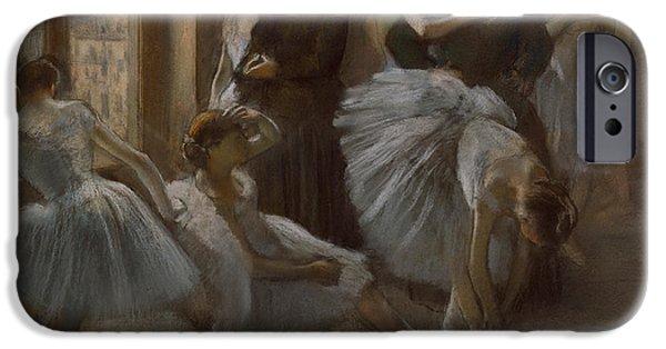 Pastel iPhone Cases - Le Foyer de lOpera iPhone Case by Edgar Degas