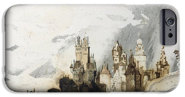 Landscapes Drawings iPhone Cases - Le Gai Chateau iPhone Case by Victor Hugo