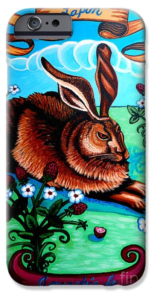Alizarin Crimson iPhone Cases - Le Grand Lapin Anarchie iPhone Case by Genevieve Esson