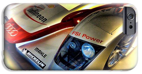 Circuit iPhone Cases - Le Mans 2002 Audi R8 FSI iPhone Case by Olivier Le Queinec