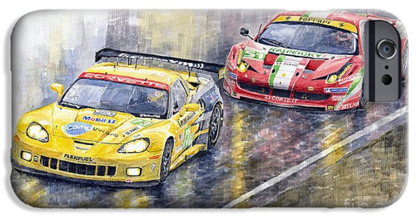 Watercolors Paintings iPhone Cases - Le Mans 2011 GTE Pro Chevrolette Corvette C6R vs Ferrari 458 Italia iPhone Case by Yuriy  Shevchuk