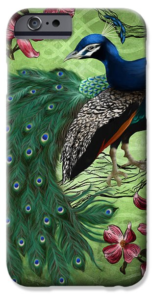 Peafowl iPhone Cases - Le Paon Bleu iPhone Case by April Moen
