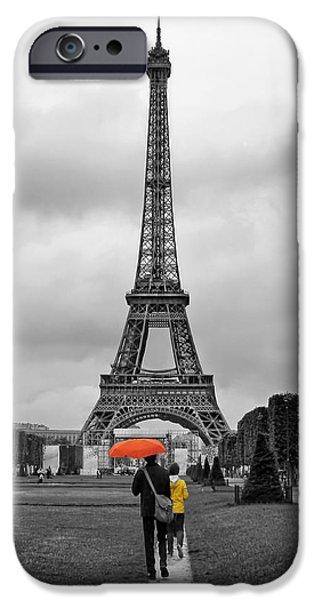 Rainy Day iPhone Cases - Le Parapluie Orange iPhone Case by Nikolyn McDonald
