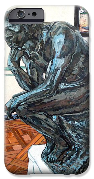 Statue Portrait Paintings iPhone Cases - Le Penseur The Thinker iPhone Case by Tom Roderick