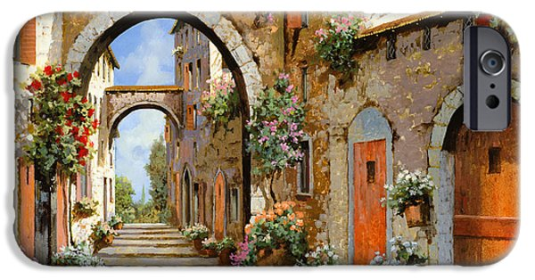 Landscape. Scenic iPhone Cases - Le Porte Rosse Sulla Strada iPhone Case by Guido Borelli