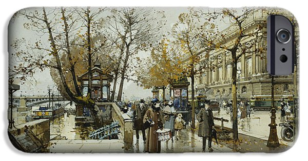 19th Century Drawings iPhone Cases - Le Quai de Louvre Paris iPhone Case by Eugene Galien-Laloue