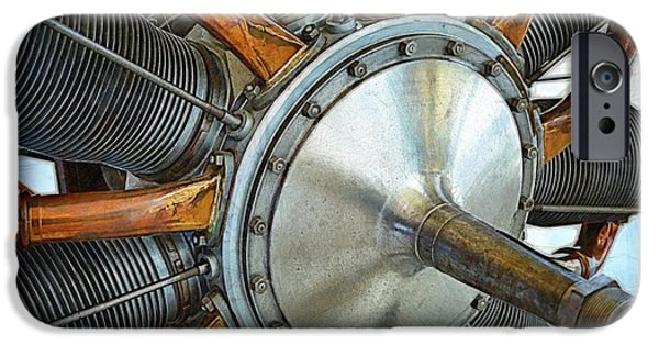 World War One Digital Art iPhone Cases - Le Rhone C-9J Engine iPhone Case by Michelle Calkins