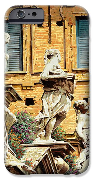 Statue iPhone Cases - Le Statue iPhone Case by Guido Borelli