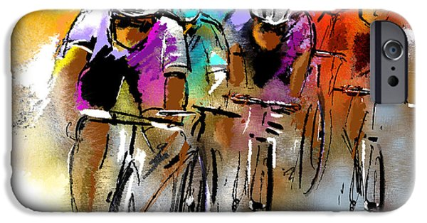 Colour Drawings iPhone Cases - Le Tour de France 03 iPhone Case by Miki De Goodaboom