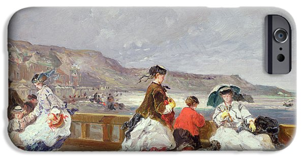 Seashore iPhone Cases - Le Treport, 1867 Oil On Canvas iPhone Case by Jules Achille Noel