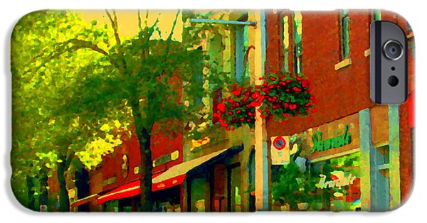 Outremont iPhone Cases - Le Trio French Speciality Shops Fleuriste Patissier Chocolatier Montreal Street Scene Carole Spandau iPhone Case by Carole Spandau