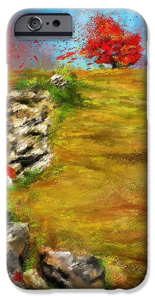 Pastoral iPhone Cases - Leading Red - Autumn Impressionist iPhone Case by Lourry Legarde