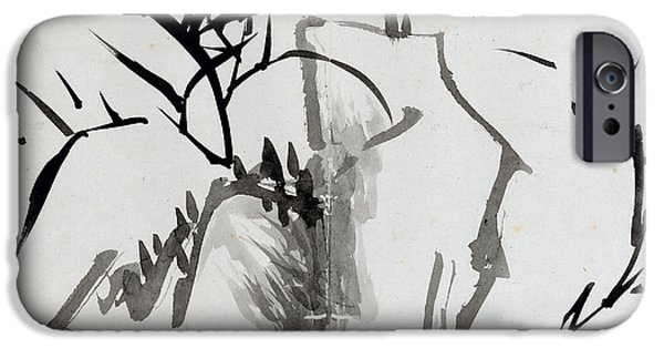 19th Century Drawings iPhone Cases - Leaf B iPhone Case by Rang Tian