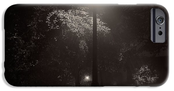 Night Lamp iPhone Cases - Leaf covered path at night square iPhone Case by Chris Bordeleau