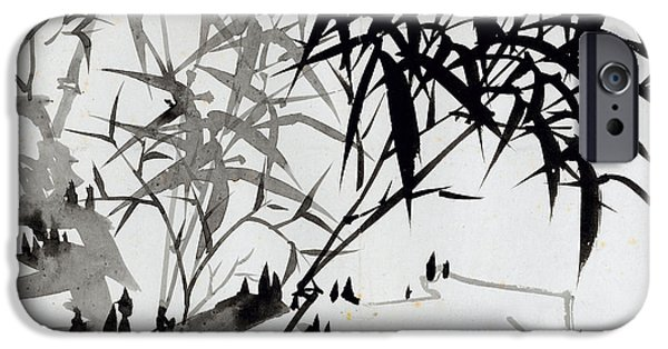 Ink On Paper iPhone Cases - Leaf F iPhone Case by Rang Tian