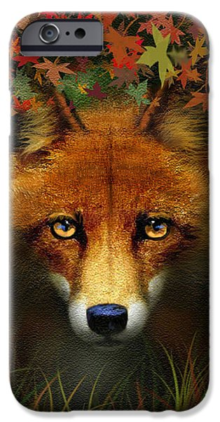 Sly iPhone Cases - Leaf Fox iPhone Case by Robert Foster