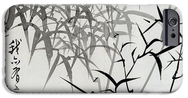 Ink On Paper iPhone Cases - Leaf G iPhone Case by Rang Tian
