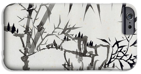 Ink On Paper iPhone Cases - Leaf I iPhone Case by Rang Tiang