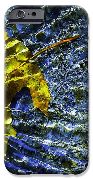 Creek iPhone Cases - Leaf In Creek - Blue Abstract iPhone Case by Darryl Dalton