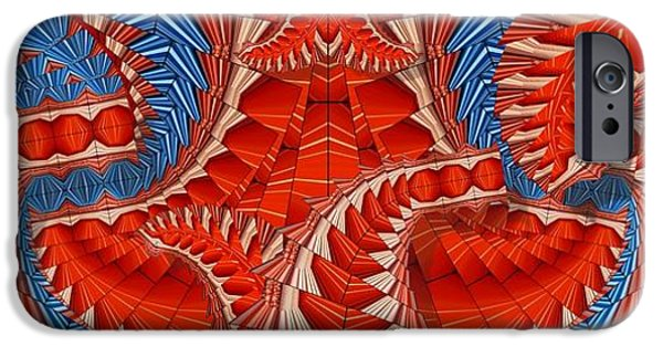 Blue Abstracts iPhone Cases - Leaf Pattern in Red iPhone Case by Ron Bissett